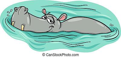 nijlpaard, rivier, nijlpaard, of, spotprent