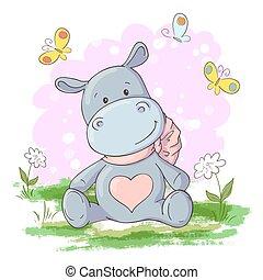 nijlpaard, schattig, postkaart, spotprent, vlinder, vector, bloemen, style.