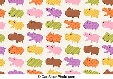 nijlpaard, seamless, dier, spotprent