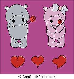 nijlpaard, set, liefde, roos, baby, spotprent