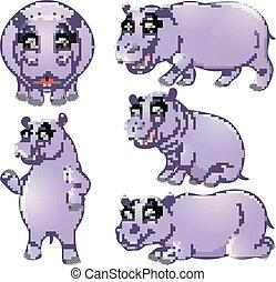 nijlpaard, set, spotprent, verzameling