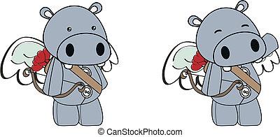 nijlpaard, spotprent, cupido