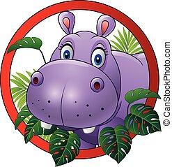 nijlpaard, spotprent, mascotte