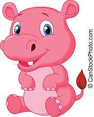 nijlpaard, spotprent, schattig