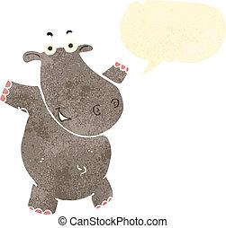 nijlpaard, spotprent, toespraak, retro, bel
