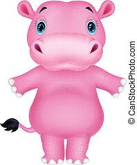 nijlpaard, spotprent, vrolijke