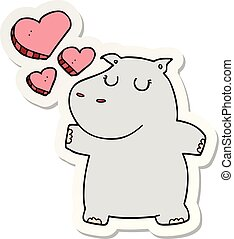 nijlpaard, sticker, liefde, spotprent