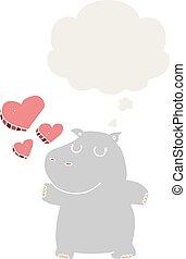 nijlpaard, stijl, liefde, gedachte, retro, bel, spotprent