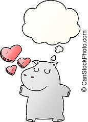 nijlpaard, stijl, liefde, helling, glad, gedachte bel, spotprent