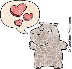 nijlpaard, stijl, liefde, textuur, toespraak, retro, bel, spotprent