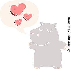nijlpaard, stijl, liefde, toespraak, retro, bel, spotprent