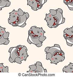 nijlpaard, thema, communie, spotprent, dier