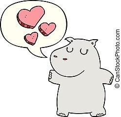 nijlpaard, toespraak, liefde, spotprent, bel
