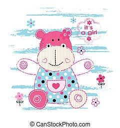 nijlpaard, weinig; niet zo(veel), achtergrond, baby, schattig