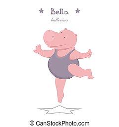 nijlpaard, weinig; niet zo(veel), ballerina, dancing, achtergrond, bevallig, witte