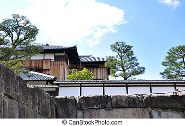 nijo, 위치한다, japan., flatland, 쿄토, 성