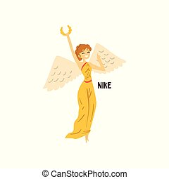 Nike Olympian Greek Goddess, ancient Greece mythology character vector Illustration on a white background