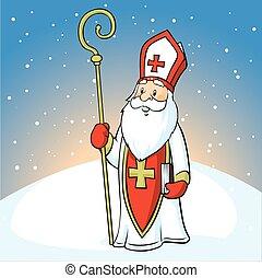 nikochas, βράδυ , φόντο , άγιος , χιονάτος