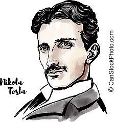 Nikola Tesla watercolor vector portrait with ink contours. ...