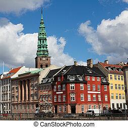 Copenhagen, Denmark - Nikolaj Kirke (Nikolaj Church) and old...