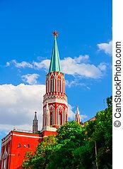 Nikolskaya Tower of Kremlin in Moscow