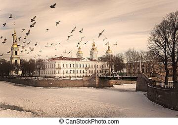 Nikolsky Cathedral in St. Petersburg, vintage processing