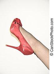 nilón, zapato negro, rojo
