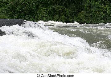 nil, -, bujagali, chutes, +, rivière, dans, ouganda, afrique