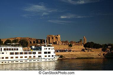 Nile Cruise Boat at Kom Ombo - A Nile Cruiser docked at the...