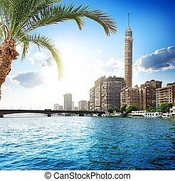 Nile in Cairo - Cairo TV tower on the bank of Nile