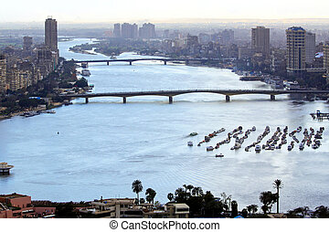 Nile River Cairo - Aerial cityscape of Nile River in Cairo