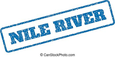 Nile River Rubber Stamp - Blue rubber seal stamp with Nile...