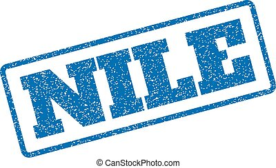 Nile Rubber Stamp - Blue rubber seal stamp with Nile text....