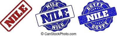 NILE Scratched Stamp Seals - NILE grunge stamp seals in red...