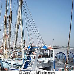 Nile - sail ship traveling by Egypt river Nile