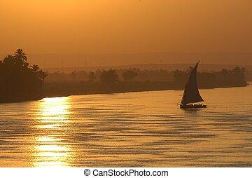Nile sunset - sunset on the Nile river, Egypt, Africa