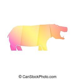 nilpferd, gelber , mehrfarbig, steigung, rosa