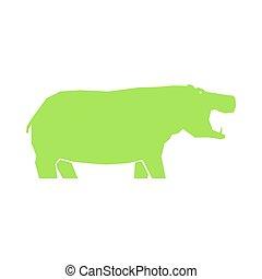 nilpferd, grün weiß, freigestellt