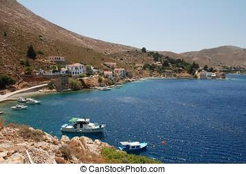 Nimborios, Symi island - Boats moored off Nimborios on the...