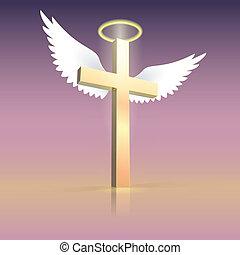 nimbus, ali, angelo, croce