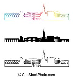 Nimes skyline linear style with rainbow