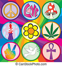 Nine 60s icons on a rainbow background on three layers for...