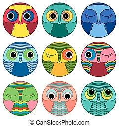 Nine amusing owl faces in a circle
