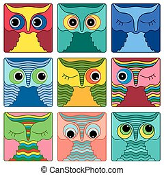 Nine amusing owl faces in square shapes