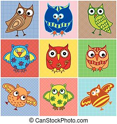 Nine amusing owls over square seamless patterns