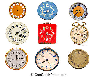 nine ancient clock dial isolated on white - nine ancient...
