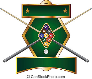 Illustration of a nine ball pool or billiards design that includes racked nine ball and crossed pool or cue sticks.