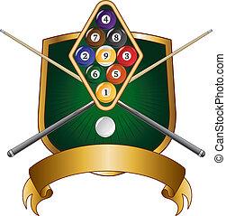 Nine Ball Emblem Design Shield - Illustration of a nine ball...