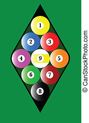 Nine Ball Rack - A pool nine ball rack with the balls in the...