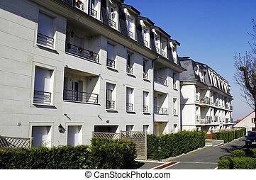 nine buildings in the Paris region with row of street...